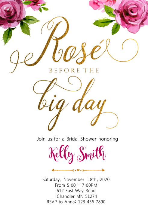 Rose all day bridal shower party invitation