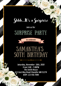 Rose Black and gold theme party invitation