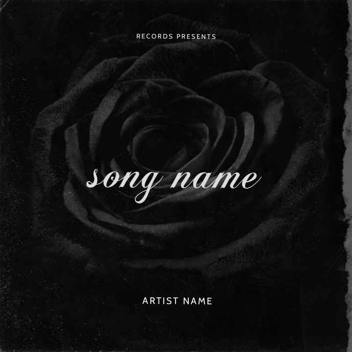 Rose Black Mixtape cover art design template