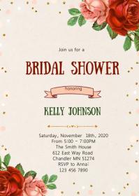 Rose Floral bridal shower invitation A6 template