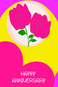 Rose Flower Happy Anniversary Card