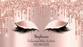 Rose Gold & Glitter Business Card Besigheidskaart template