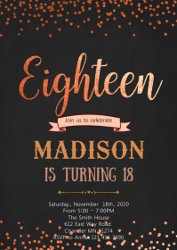 Rose gold foil 18th birthday invitation