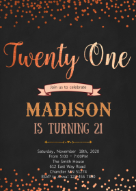 Rose gold foil 21st birthday invitation