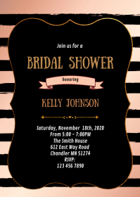 Rose gold foil shower party invitation