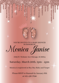 Rose Gold Glam Footprint Baby Shower Invitati A6 template