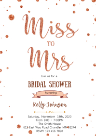 Rose gold miss to mrs shower invitation