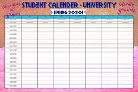 Rose Gold Student University Calender Templat