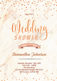Rose gold wedding shower invitation