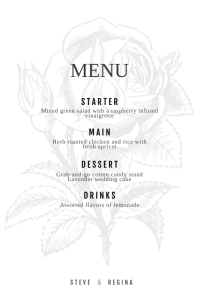 Rose Wedding menu Design Template