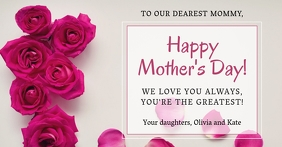 Roses Happy Mother's Day floral background Gedeelde afbeelding op Facebook template