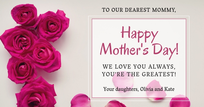 Roses Happy Mother's Day floral background Gambar Bersama Facebook template