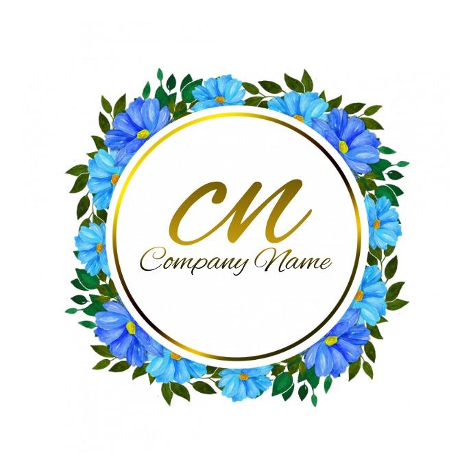 Round Blue Flower Logo template