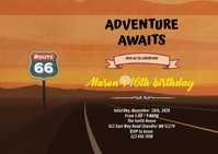 Route 66 birthday theme invitation A6 template