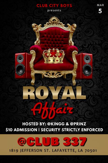 ROYAL AFFAIR KING CLUB FLYER Poster template