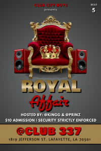 ROYAL AFFAIR KING CLUB FLYER