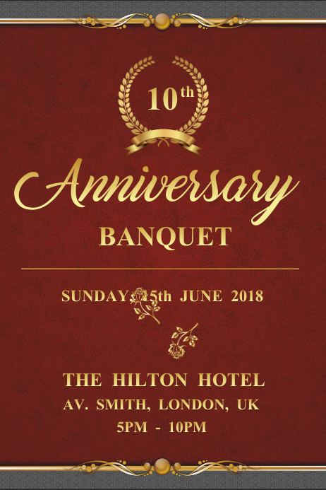 Royal Anniversary Banquet Invitation Poster Template