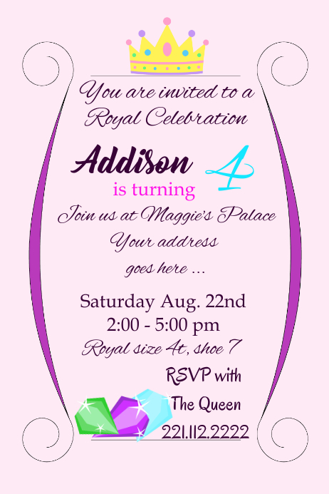Royal Birthday Girl Party Invite Template Postermywall