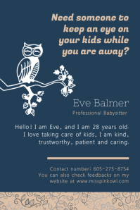 Royal Blue Babysitting Flyer Póster template