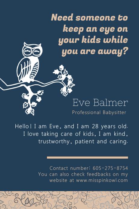 Royal Blue Babysitting Flyer