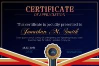 Royal blue certificate of appreciation design