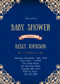 Royal Blue Ivory Pearl Birthday invitation