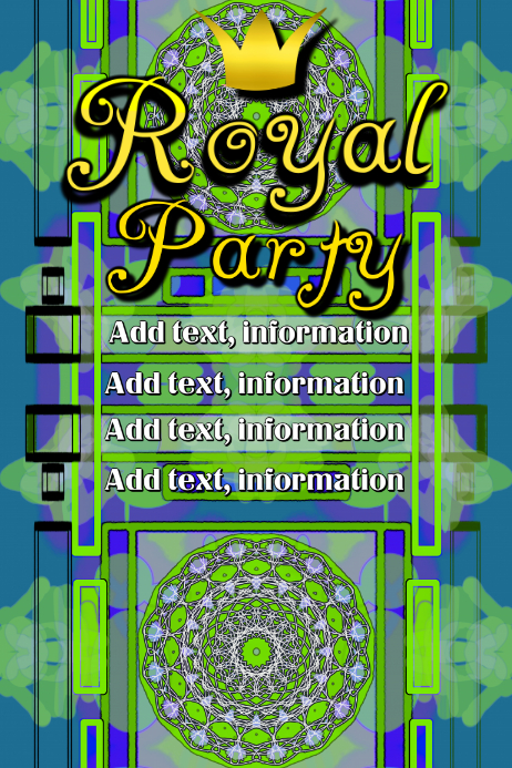 Royal Party - blue green with crown