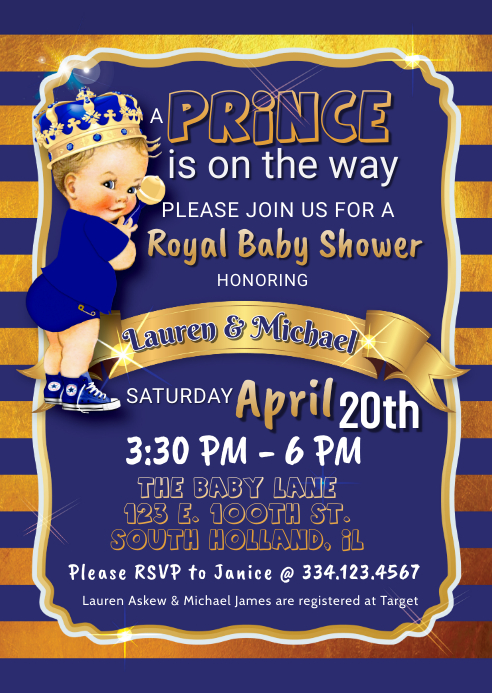 Royal Prince Blond Baby Shower Invite