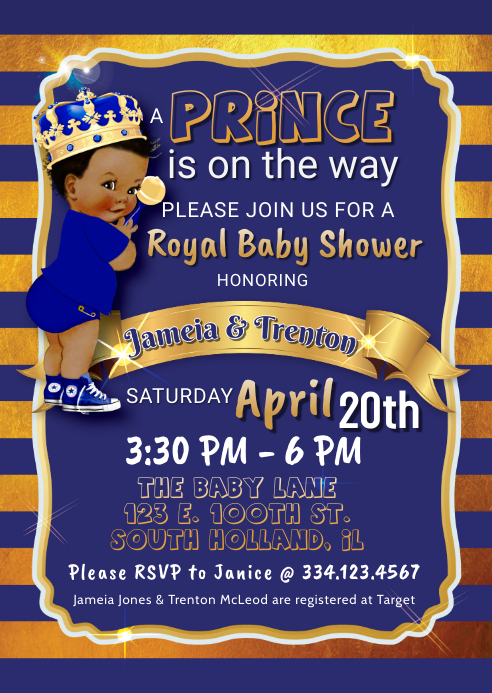 Royal Prince Curly Hair Brown Skin Baby Shower