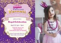 Royal Princess Birthday Invitation A6 template