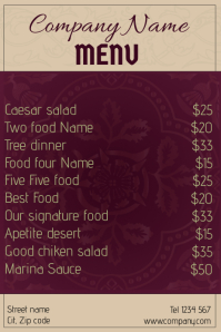 Royal restaurant food menu - purple and beige
