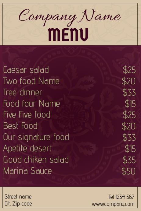 Royal restaurant food menu - purple and beige