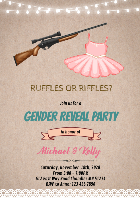 Ruffles or riffles gender reveal card