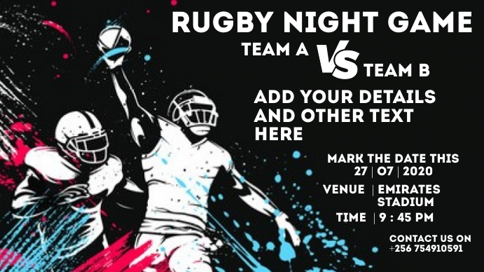 Rugby Flyer Miniatura de YouTube template