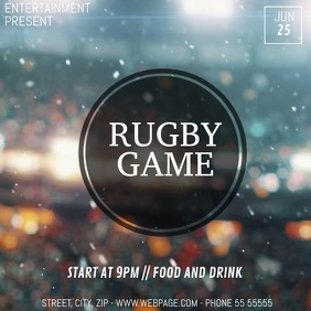 Rugby game event video flyer template