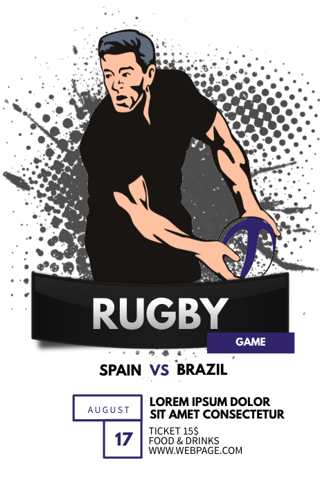 Rugby game Flyer template Plakat