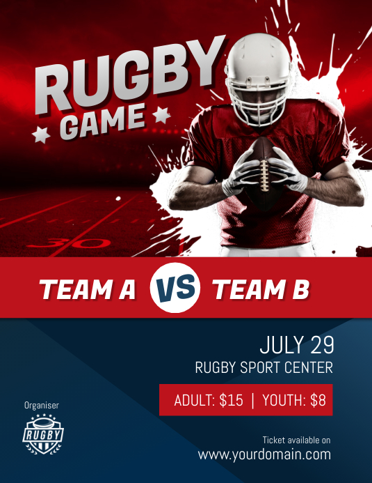 Rugby Game Match Tournament Poster Flyer template