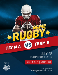 Rugby Game Poster Flyer Template Volantino (US Letter)