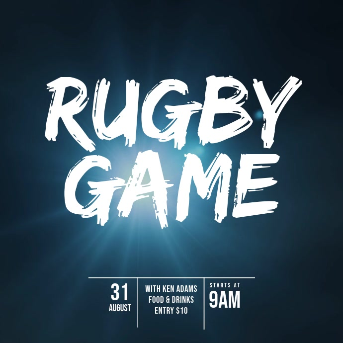 Rugby Game Video Design Template Cuadrado (1:1)
