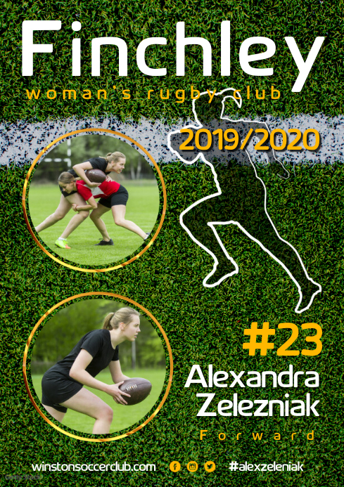 Rugby Player Poster A3 template