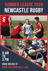 Rugby Tournament Collage Poster Template Póster