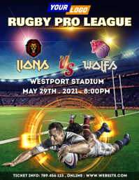 Rugby tournament design Flyer (US Letter) template