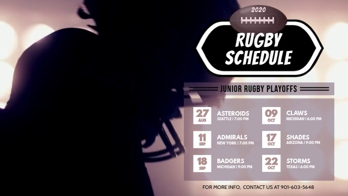 Rugby Video Schedule Template