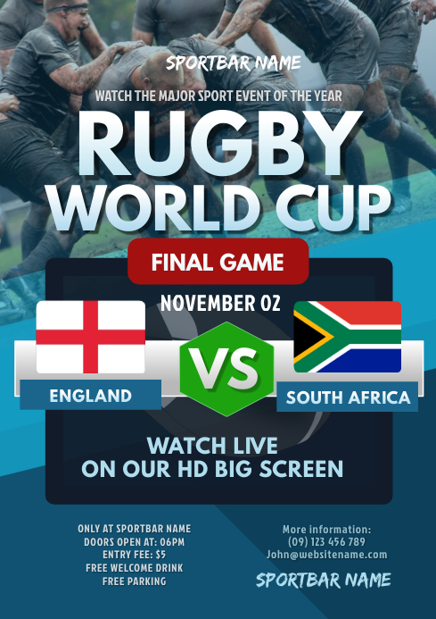 Rugby World Cup Flyer A4 template