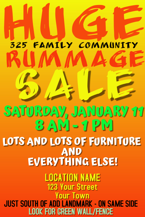 RUMMAGE SALE POSTER template