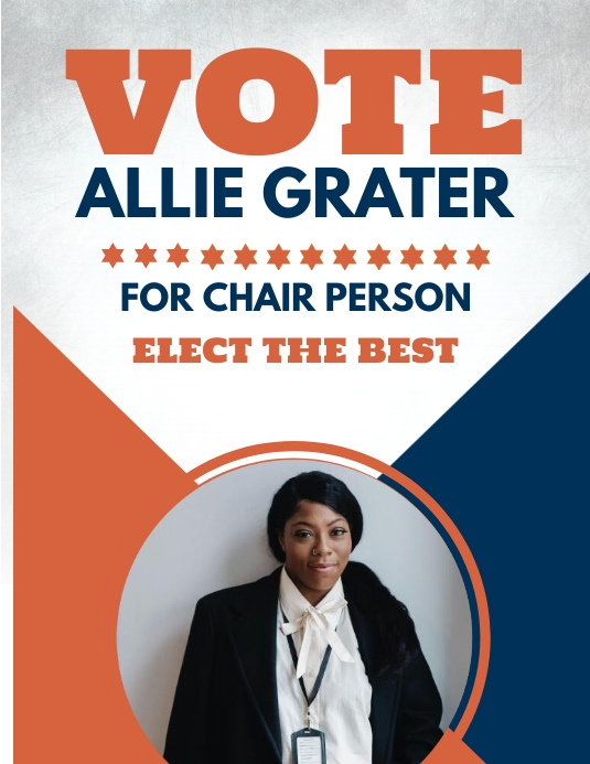 run for chair person election flyer template postermywall