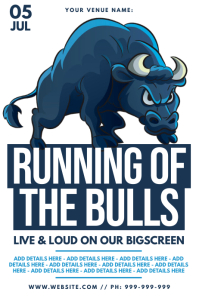 Running Of The Bulls Poster template