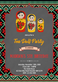 Russian doll party theme invitation