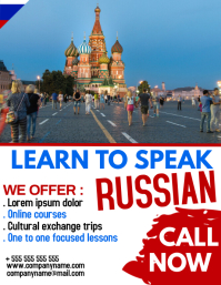 Russian language school flyer advertisement