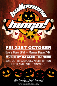 Rust Halloween Bingo Party Invitation Flyer Template